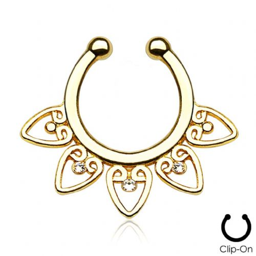 Gold Plated Tribal Fan Non-Piercing Septum Ring / Hanger with Clear Gems